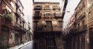 La casa misteriosa apenas ha cambiado. En el local se vendió ropa usada hasta hace poco tiempo. Compárese la toma de la izquierda con la vieja foto de los curiosos frente al portal en 1935.