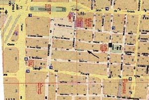 Detalle del plano de Barcelona donde aparece la calle Francisco Giner.