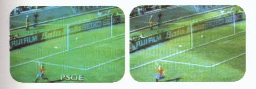 Imagen durante el gol de Butrageño, en la que aparecen claramente las siglas PSOE